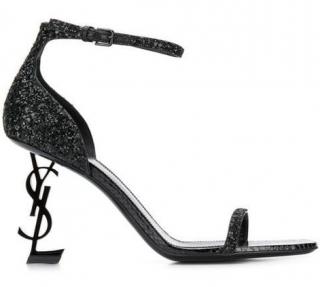 Saint Laurent Opyum 85 Black Glitter Sandals