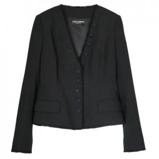 Dolce & Gabbana Black Tailored Fringed Jacket