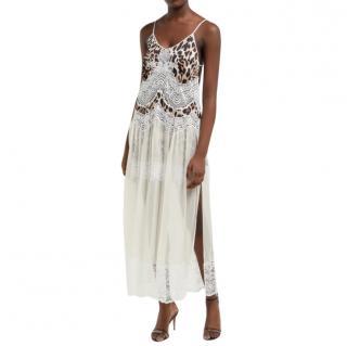Paco Rabanne Leopard Print Satin & Lace Slip Dress