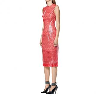 Christopher Kane Red Plastic Lace Midi Dress