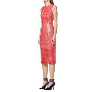 Christopher Kane Red Plastic Lace Midi Dress