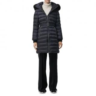 Burberry Navy Shearling Trim Down Limehouse Coat