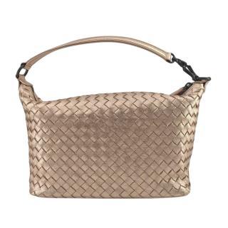 Bottega Veneta Metallic Rose Gold intrecciato Shoulder Bag