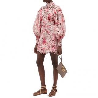 Zimmermann Wavelength Ikat-print lace mini dress