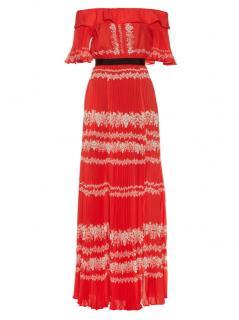 Self Portrait Red & White Off Shoulder Maxi Dress