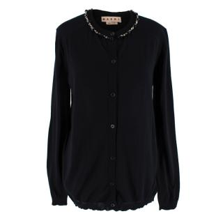 Marni Black Cashmere Crystal Embelished Cardigan
