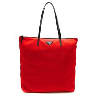 Prada Red Nylon & Saffiano Leather Tote Bag