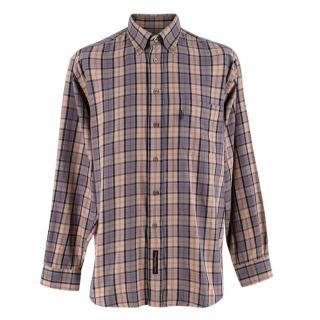 Barbour Beige & Grey Checkered Long Sleeve Shirt