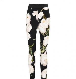 Dolce & Gabbana Tulip Print Black Leggings