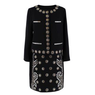 Moschino Cheap and Chic Black Black Flower Embellished Skirt Suit