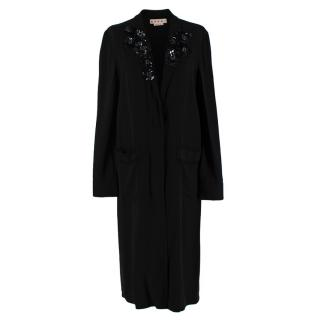 Marni Black Crepe Sequin Embellished Lightweight Coat