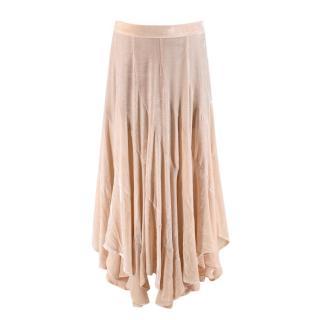 Matthew Williamson Beige Velvet Asymmetric Midi Skirt