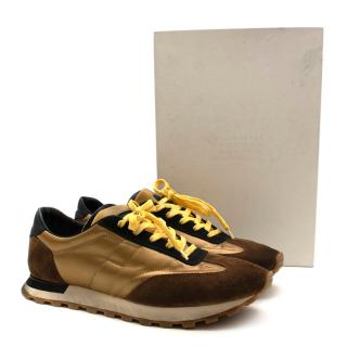 Maison Martin Margiela Brown & Gold Suede Runner Trainers