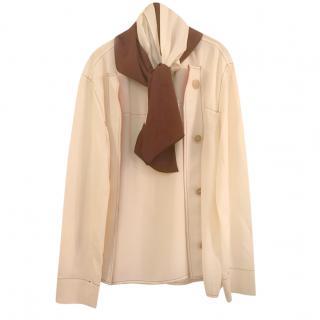 Marni cream silk blend tunic top