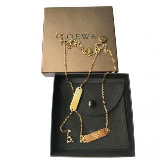 Loewe Gold Metal Branded Necklace & Bracelet