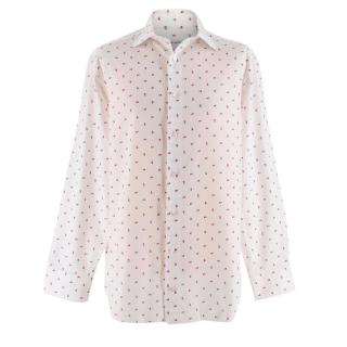 Donato Liguori White Floral Cotton Piquet Tailored Long Sleeve Shirt
