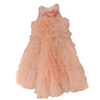 Juona luxury girl's peach tulle party dress