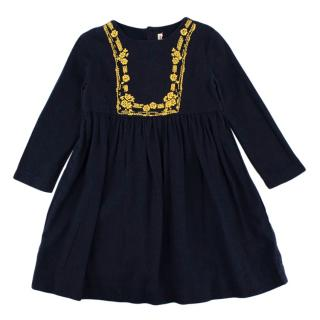 Bonpoint Navy Flannel Embroidered Dress