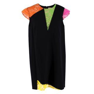 Christopher Kane Black Lace Panelled Satin Crepe Dress