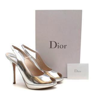 Christian Dior Silver Miss Dior Sling Back Peep Toe Sandals