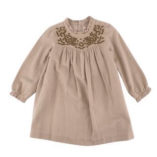 Bonpoint Cream Cotton & Wool Flannel Embroidered Dress