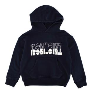 Bonpoint Navy Cotton Branded Hoodie