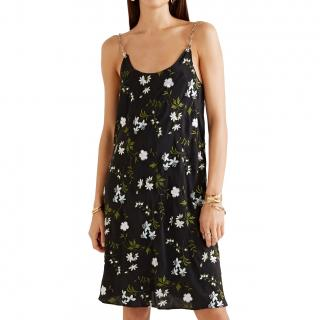 Paco Rabanne Black Floral Embroidered Chain Straps Slip Dress
