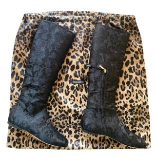 Dolce & Gabbana Floral Brocade Lace Boots