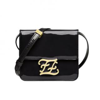 Fendi Black Karligraphy patent leather shoulder bag