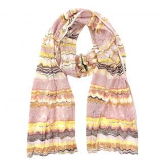 Missoni Pastel Knit Silk Blend Crochet Scarf