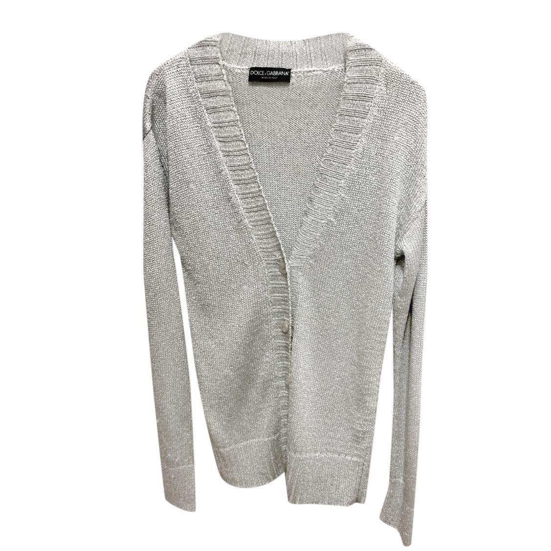 Dolce & Gabbana Silver Metallic Knit Cardigan