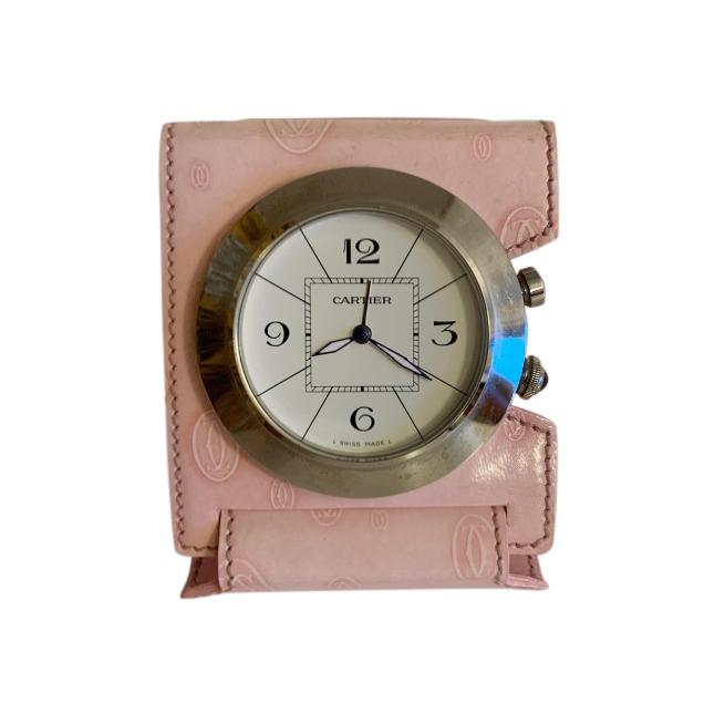 Cartier Pink Leather Pasha Travel Clock