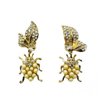Dolce & Gabbana Faux Pearl Crystal Insect Drop Earrings
