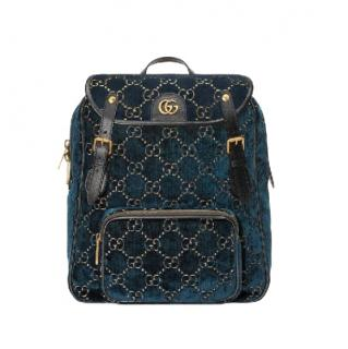 Gucci Blue Velvet Monogram Backpack