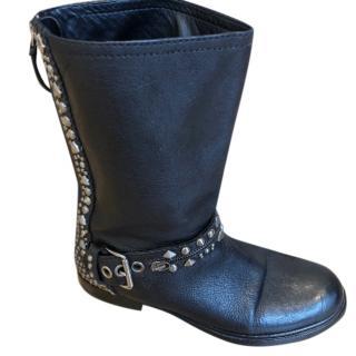 Miu Miu Studded Buckle Black Leather Boots