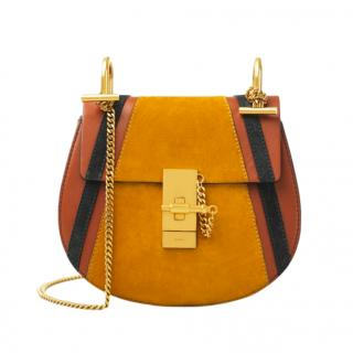 Chloe Suede/Calfskin Tobacco Mini Drew Crossbody Bag