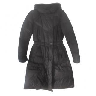 Moncler Black Fur Trimmed Hooded Down Coat