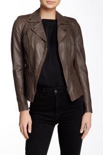 Muubaa Bentonite Grey Kajana Leather Biker Jacket