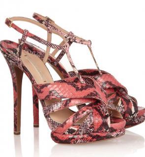 Nicholas Kirkwood Elaphe Snakeskin Pink Sandals
