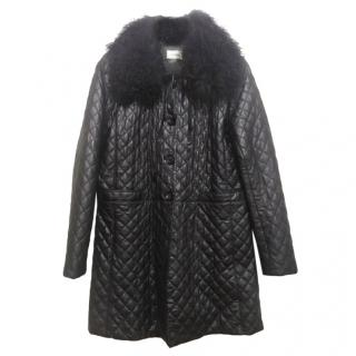 Neiman Marcus Black Matelasse Leather Coat with Shearling Collar