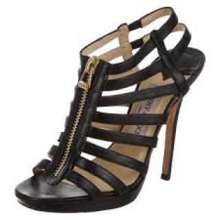 Jimmy Choo Black Leather Glenys Caged Sandals