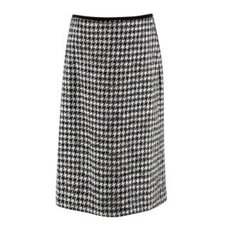 Erdem Safia metallic houndstooth cotton-blend tweed pencil skirt