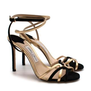 Jimmy Choo Suede/Metallic Nappa Mimi 100 Sandals in Black and Gold