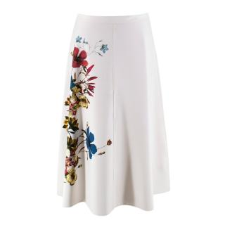 Erdem Maury Skirt in White with Floral Print