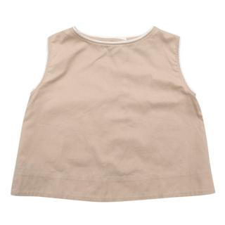 Caramel Nude Sleeveless Top with Fold Over Back Detail