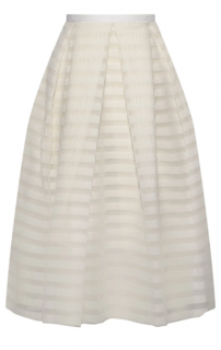 Erdem Ina pleated striped organza skirt