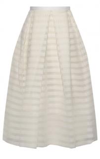Erdem Ina pleated striped organza skirt