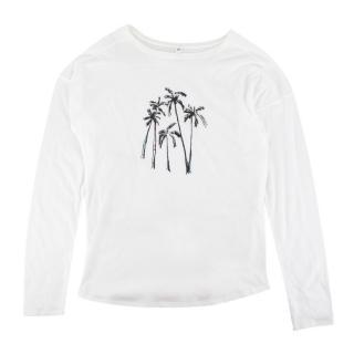 Caramel White Long Sleeve Palm Tree Print T-shirt