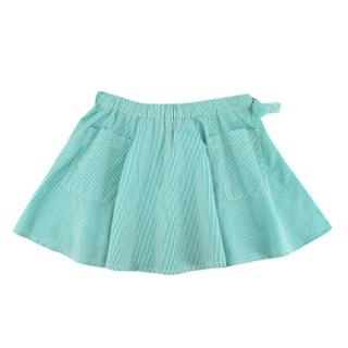 Caramel Mint Green Striped Skater Skirt