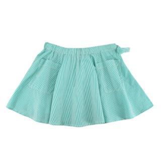 Caramel Mint Green Striped Skater Skirt